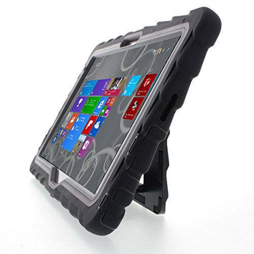 Price comparison product image Dell Venue Pro Atom 11 (5130) Hideaway with Stand Black Gumdrop Cases Silicone Rugged Shock Absorbing Protective Dual Layer Cover Case