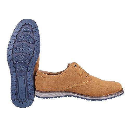 Ital-Design Schnürschuhe Herren Schuhe Oxford Moderne Schnürsenkel Halbschuhe Camel