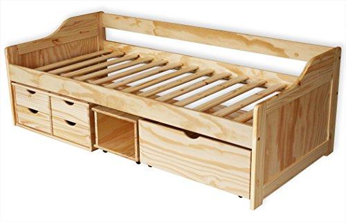 KMH®, Bett aus massivem Pinienholz! (200 x 90 cm / Mit Bettkasten, Rollregal und 4 Schubladen / natur) (#201104)