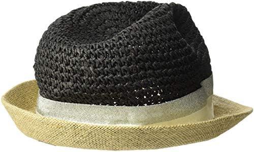 b73caab87 Steve Madden Women's Paper Crochet & Jute Short Brim Fedora with Two ...