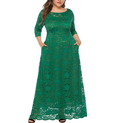 Eternatastic Womens Floral Lace 2/3 Sleeves Maxi Dress Evening Party Long Dress XXL Green -