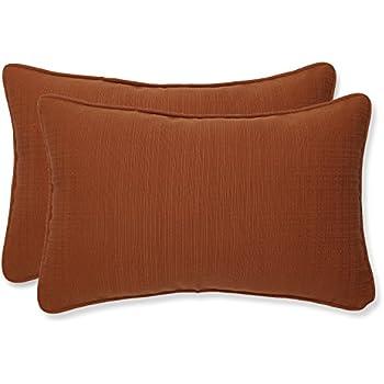 Pillow Perfect Indoor/Outdoor Cinnabar Corded Rectangular Throw Pillow, Burnt Orange, Set of 2