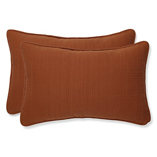 (Pillow Perfect Indoor/Outdoor Cinnabar Corded Rectangular Throw Pillow, Set of 2, Burnt Orange)