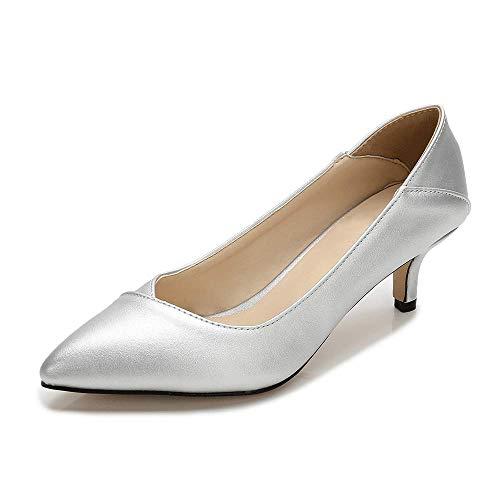 - Women's Fashion Classic Pointy Toe Low Kitten Heel Office Dress Slip On Pump silver-40(250/US8.5)