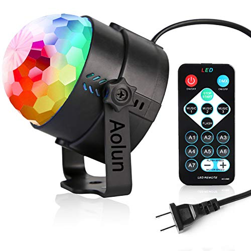 Party Lights,Disco Lights Sound Activated with Remote, Halloween Disco Ball Light,Stage lights-Multi Colors Rotating Magic LED Strobe Lights for Xmas Parties,Room,Pool,Club,Home,Church,Karaoke,Wedding]()