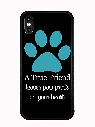 A True Friend Leaves Paw Prints On Your Heart Turquoise for iPhone Xs MAX 6.5 2018 Case Cover by Atomic Market