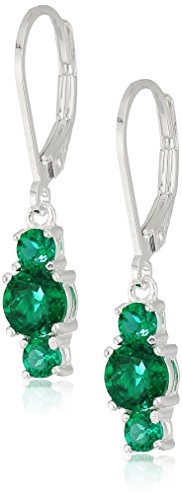 5 Mm Emerald Earrings (Sterling Silver May Birthstone Round Created Emerald 5mm and 3mm Three Stone Dangle Lever Back Earrings)