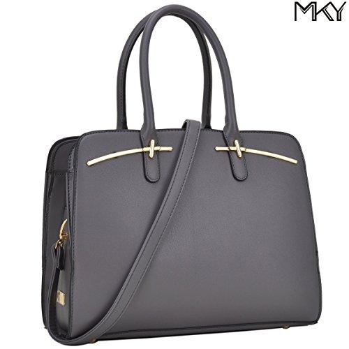 Multi Pocket Purse Satchel Large leather Handbag Triple Compartment Shoulder Strap (Grey)
