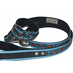 Jodi Head's RJ Cash Petwear Brocade Blue Hearts Dog Collar and Leash, Small, Black with Blue, Red and Blue Binding Click on image for further info.