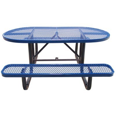 Leisure Craft OPT72SM-Blue Metal Outdoor Picnic Table, 6′, Blue