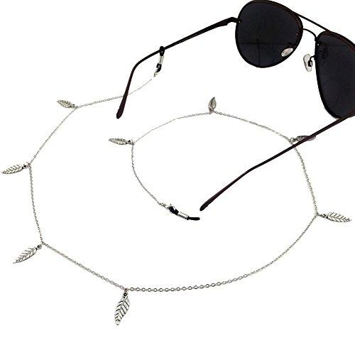 Ababalaya Vintage Strap Anti-Skid Eyeglass Cord Metal Sunglasses Thin Chain,Silver (Strap Trap)