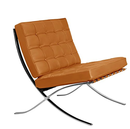 Classic Romano Semi Aniline Italian Leather Lounge Chair - Golden Tan (Tan Aniline Leather)