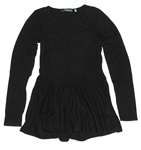 saks-fifth-avenue-womens-ruffled-tunic-cashmere-sweater-black-small
