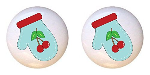 SET OF 2 KNOBS - Oven Mitt from the Baking Day I Cherry Cherries Blue Collection - DECORATIVE Glossy CERAMIC Cupboard Cabinet PULLS Dresser Drawer KNOBS (Cherry Fresh Oven Mitt)