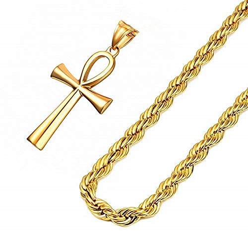 - Q&S Jewels Gold Ankh Cross Necklace for Men 22 Inch 3mm Rope Chain 18K Gold Plated Based Stainless Steel Fashion Religious Christian Jewelry