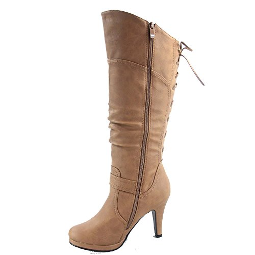 Top Back Lace Women's High Zipper Up Boots Moda Side 65 Heel Page Knee Taupe Shoes Platform Sexy Low 1UwR1qrH