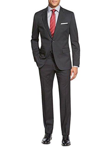 (Salvatore Exte Men's Suit Two Button Side Vent Jacket Flat Front Pants (42 Short US / 52S EU/W 36
