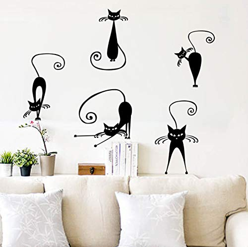 Dalxsh Abstract Cat Wall Sticker for Kids Rooms Decals Quotes Infantiles Stickers Mural Home Decor Living Room Decoration