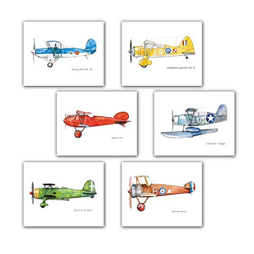 Airplane watercolor print Set SIX pics 8x10