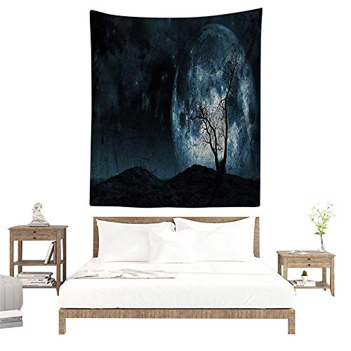 alisoso Wall Tapestries Hippie,Fantasy,Night Moon Sky with Tree Silhouette Gothic Halloween Colors Scary Artsy Background,Slate Blue W47 x L47 inch Tapestry Wallpaper Home Decor]()