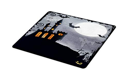 (Ambesonne Vintage Halloween Cutting Board, Halloween Themed Asymmetric Caste with Scary Bats and Ghosts Full Moon, Decorative Tempered Glass Cutting and Serving Board, Large Size, Black)