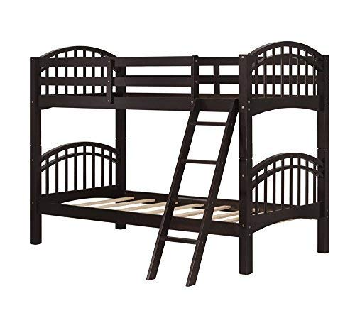 Harper&Bright Designs Twin-Over-Twin Solid Hardwood Bunk Bed (Espresso.)