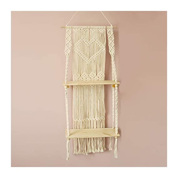Boho Style Floating Wall Mount Shelving Macrame Rope Woven Double Layers Wood Shelf Tapestry Tassel Wall Hanging Art Background Home Decor Handmade Craft Bookshelf - Size: 50 x 110cm The shelf is suitable for small plants, magazines and small articles,etc. Do not wash. - wall-shelves, living-room-furniture, living-room - 41f8LGFvbgL. SS570  -