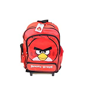 "New Red Rovio Angry Birds 16"" Large Rolling Wheeled School Backpack Bag from OEM"