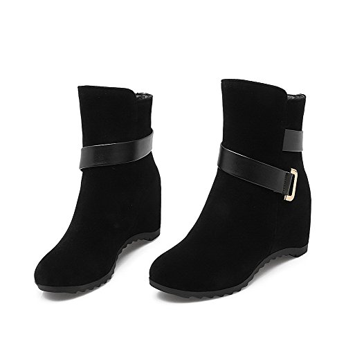 Round Toe on Frosted WeiPoot Pull Closed Women's Low Heels Black top Kitten Boots pIpqH8wv
