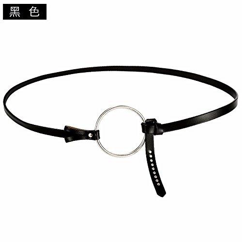 LONFENN President thin belt kraft round tie minimalist decor dresses leather knot thin belt circle skirt waist belt, black,55cm-96cm