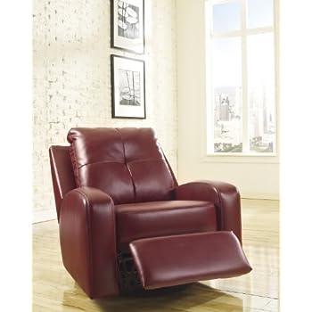 Ashley Furniture Signature Design - Mannix Swivel Recliner Chair - Manual Glider Reclining Motion - Red
