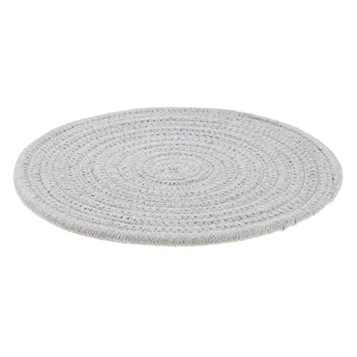 Agordo Placemat for Dining Table Round Braided Pad Mats Tableware Utensil 24cm Grey