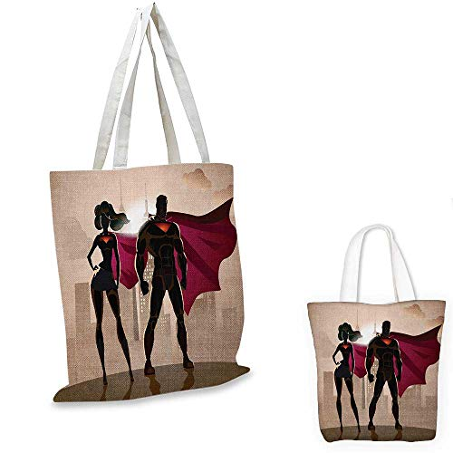 (Superhero ultralight shopping bag Super Woman and Man Heroes in City Solving Crime Hot Couple in Costume pocketable shopping bag Beige Brown Magenta.)