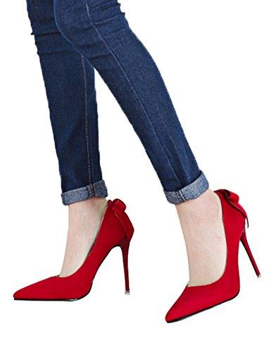 Para Ante Zapatos Fiesta Stiletto Dulce Zapatos Tacones tac Boda Bowknot de Mujer altos Fxaqwqng