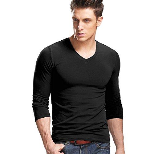XUDIAN Long Sleeves Men T-Shirt V-Neck,US Size: X-Large, Asian Size: XXX-Large (Black)
