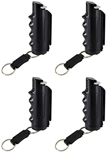 Pepper Defense (4 Pack) 4-in-1 OC Pepper Spray, CS/CN Tear Gas, UV Dye, Black Grip Holster, Belt Clip, Key Chain - Max Strength Police Grade Formula - Emergency Weapon Personal Safety and Protection