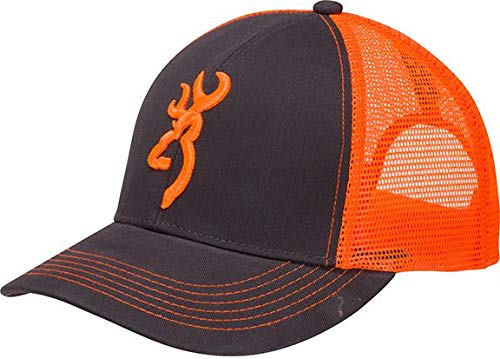 Browning Flashback Neon Cap Charcoal/Neon Orange with Buckmark Baseball Hat from BROWNING