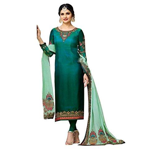 - Laxminarayan Georgette Embroidered Churidar Straight Salwar Suit with Pure Banarasi Silk Dupatta (Green, Small)