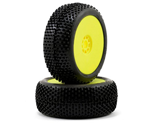 AKA Products 14001SRY Racing Buggy I-Beam Soft Evo Wheel Pre-Mounted Yellow Tire, Scale 1:8