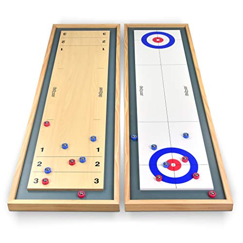 GoSports Shuffleboard and Curling 2 in 1 Table Top Board Game with 8 Rollers - Great for Family Fun]()