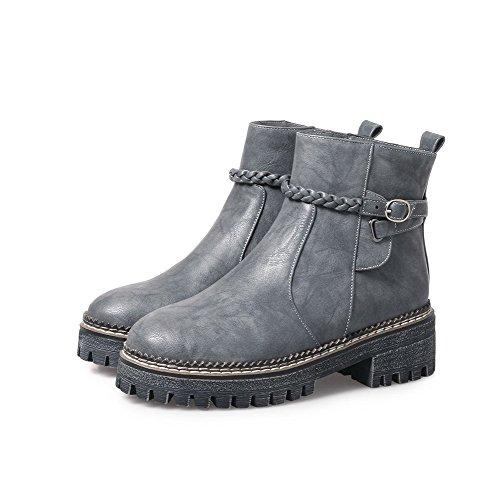 AgooLar Women's Blend Materials Solid Zipper Round-Toe Kitten-Heels Boots Gray jhOQdgf