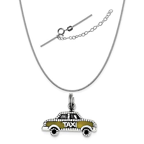 - Sterling Silver Yellow Enameled Taxi Charm on a 0.90mm Box Chain Necklace, 18