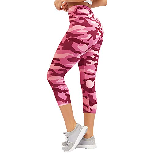 CAMPSNAIL Plus Size High Waisted Leggings for Women Yoga Pants Seamless Capri Leggings Compression Athletic Workout Leggings (US 14-24(Plus Size), Camouflage)