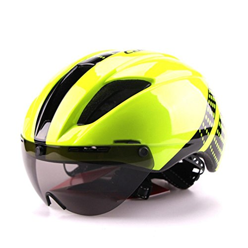 HELMESG Bicycle Helmets Men Women Helmet Mountain Road Bike Integrally Molded Cycling Fluorescent (Chrome Fluorescent Lock)