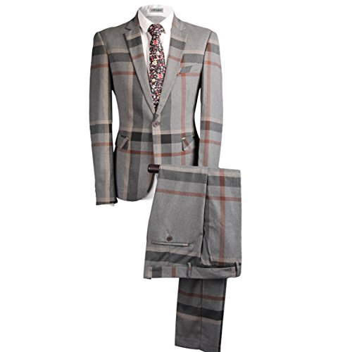 YFFUSHI Mens Classic Plaid and Pinstripe Tailored-Fit One Button 2 Pcs Suit Slim