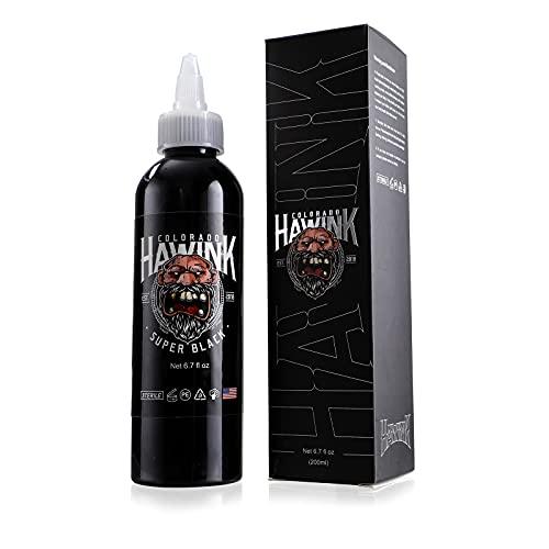Hawink Tattoo Ink 6.7oz (200ml) Vegan-Friendly USA Standard Pigment Super Black TI963-6.7OZ-S