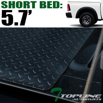 Topline Autopart Black Rubber Diamond Plate Truck Bed Floor Mat Liner For 09-18 Dodge Ram 1500/2500 / 3500 Rambox Cargo Management System 5.7 Feet (68.4