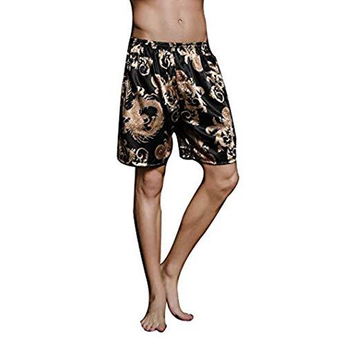 SexyTown Mens Satin Boxers Shorts Pajama Set Underwear Beach Shorts Medium Black Dragon ()