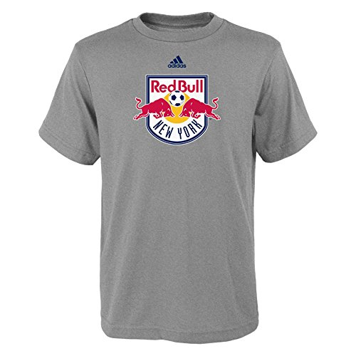 fan products of MLS New York Red Bulls Boys -Primary Logo Short sleeve Tee, Heather Grey, Medium (10-12)
