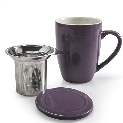 GOURMEX Tea Infusing Mug, Purple Stoneware Exterior, Stainless Steel Infuser Interior, with Lid That Doubles as Saucer, Dishwasher Safe (13.5oz/400ml)
